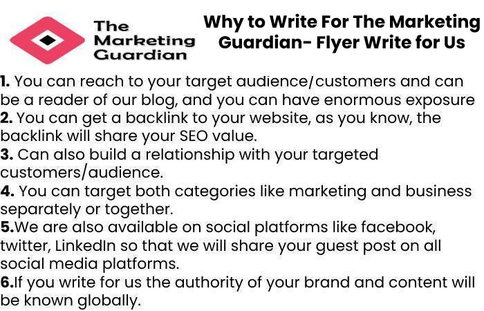 Why to Write For The Marketing Guardian- Flyer Write for Us