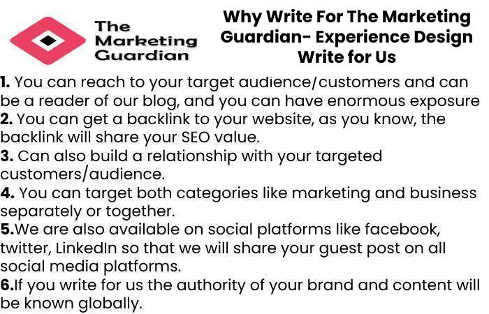 Why Write For The Marketing Guardian- Experience Design Write for Us
