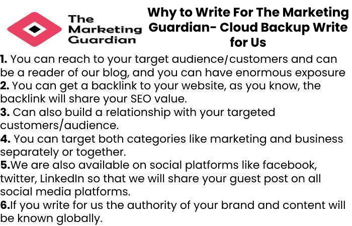 Why to Write For The Marketing Guardian- Cloud Backup Write for Us